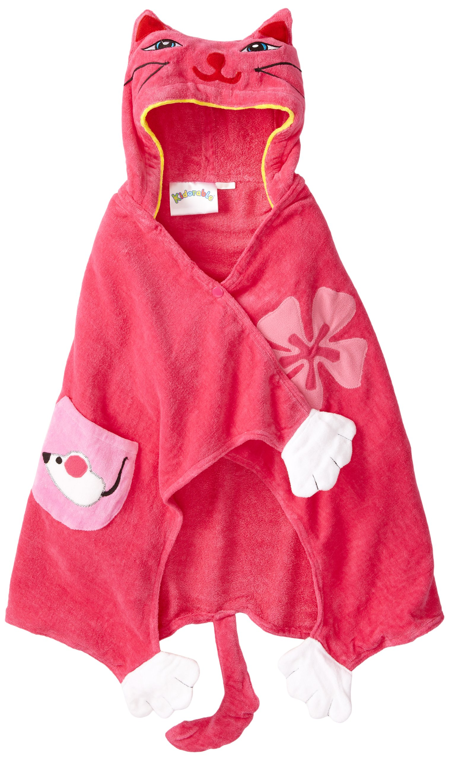 Kidorable Pink Lucky Cat All-Cotton Hooded Towel for Girls w/Fun Cat Ears Paws Flowers Ages 3-7