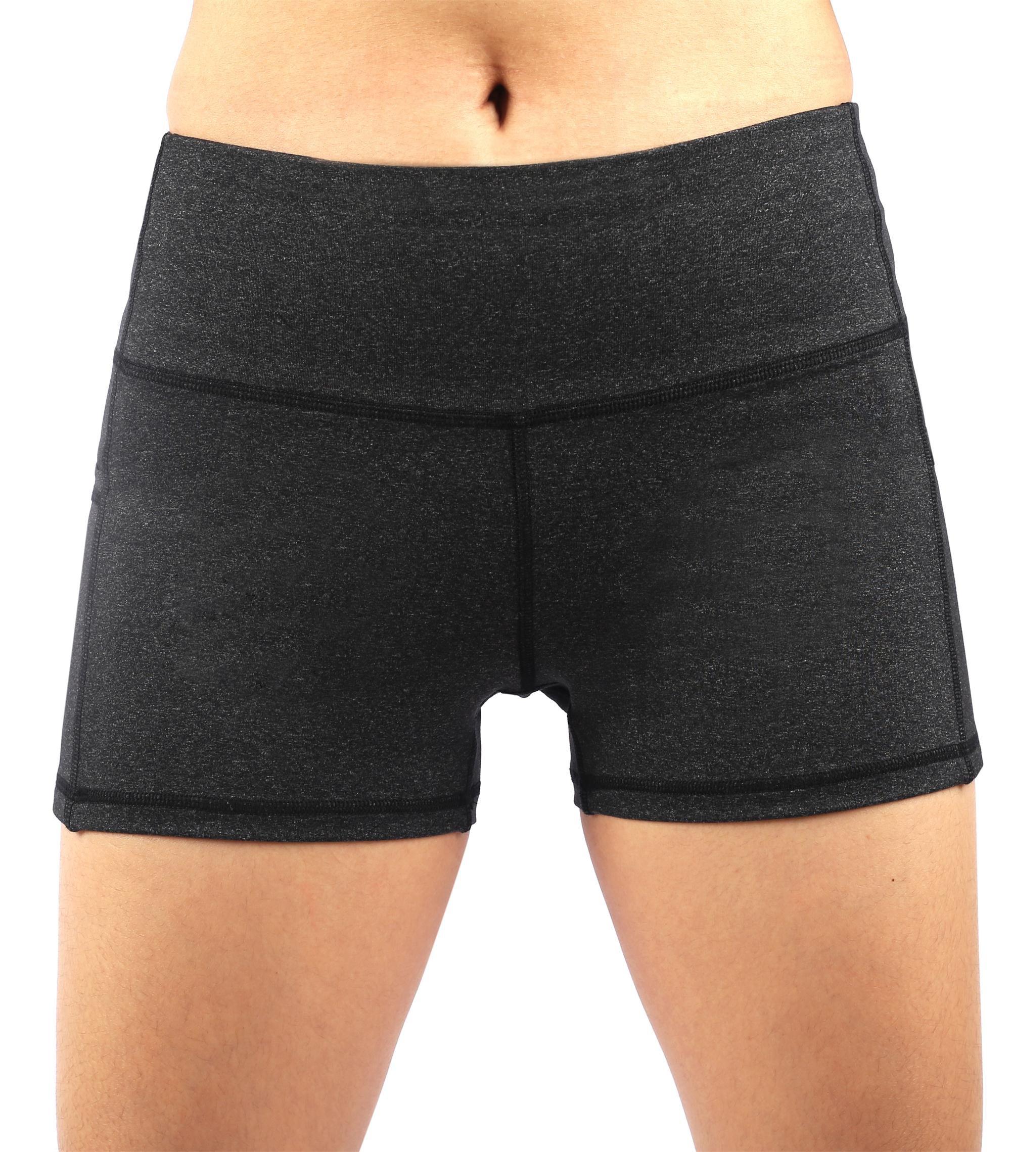 Picotee Women\'s Yoga Shorts Workout Running Shorts Yoga Short Pants Tights With Pocket (XL,Deep Grey)