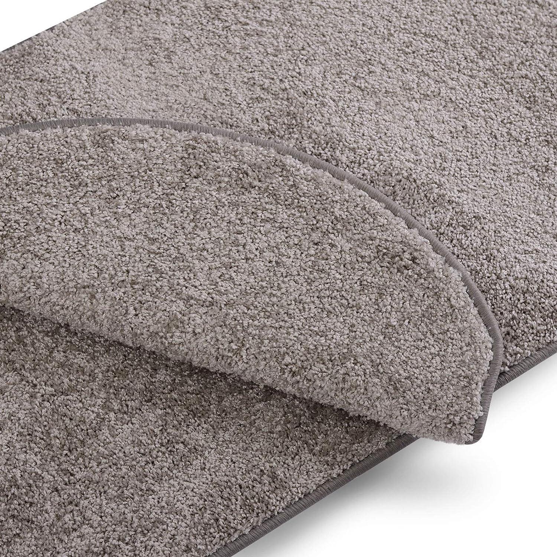 Stufenmatten Uni Silbergrau   Qualitätsprodukt aus Deutschland   Gut Siegel   Kombinierbar mit Läufer   65x23,5 cm   halbrund   15er Set