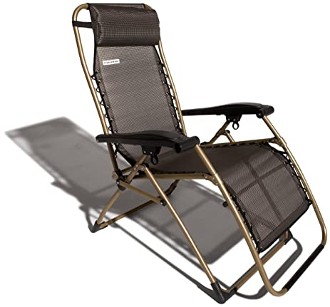 Strathwood Basics Anti Gravity Adjustable Recliner Chair, Dark Brown With  Champagne Frame