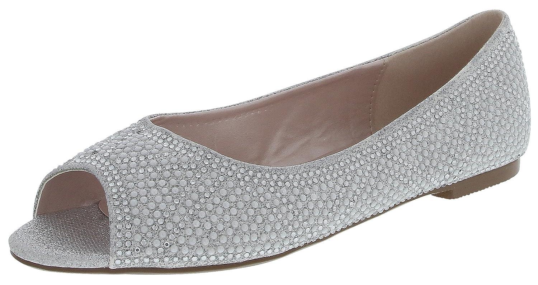Cambridge Select Women's Peep Toe Glitter Rhinestone Crystal Faux Pearl Slip-On Dress Flat B07C3FLC4T 8 B(M) US|Silver