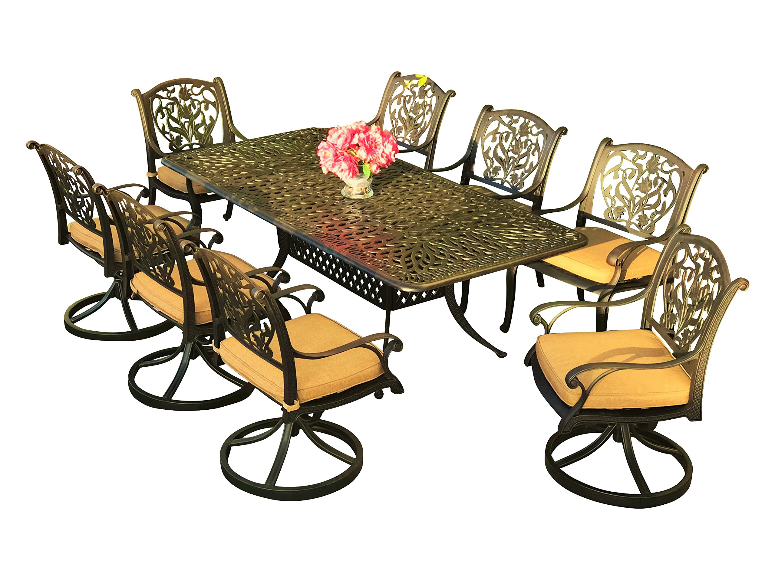"Everhome Designs - Victoria 9-Piece 84"" Rectangular Cast Aluminum Patio Dining Set with Premium Sunbrella Cushions (8 Swivel Rocking Chairs) - Crafted with solid cast aluminum construction / Features non-rust and weather resistant multi-step hand-finish in Antique Bronze Features adjustable levelers for non-flat surfaces / Includes 2"" center umbrella hole with cover (1) Dining table dimensions: 84L x 42W x 29H inch / Table weight: 94 lbs (Assembly required) - patio-furniture, dining-sets-patio-funiture, patio - 91l T8a%2B9HL -"