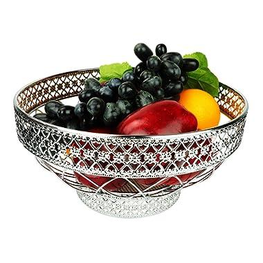 RosyLine Fruit Basket home Fruit Basket Decorative Display Stand, Multi purpose bowl (Chrome Finish)