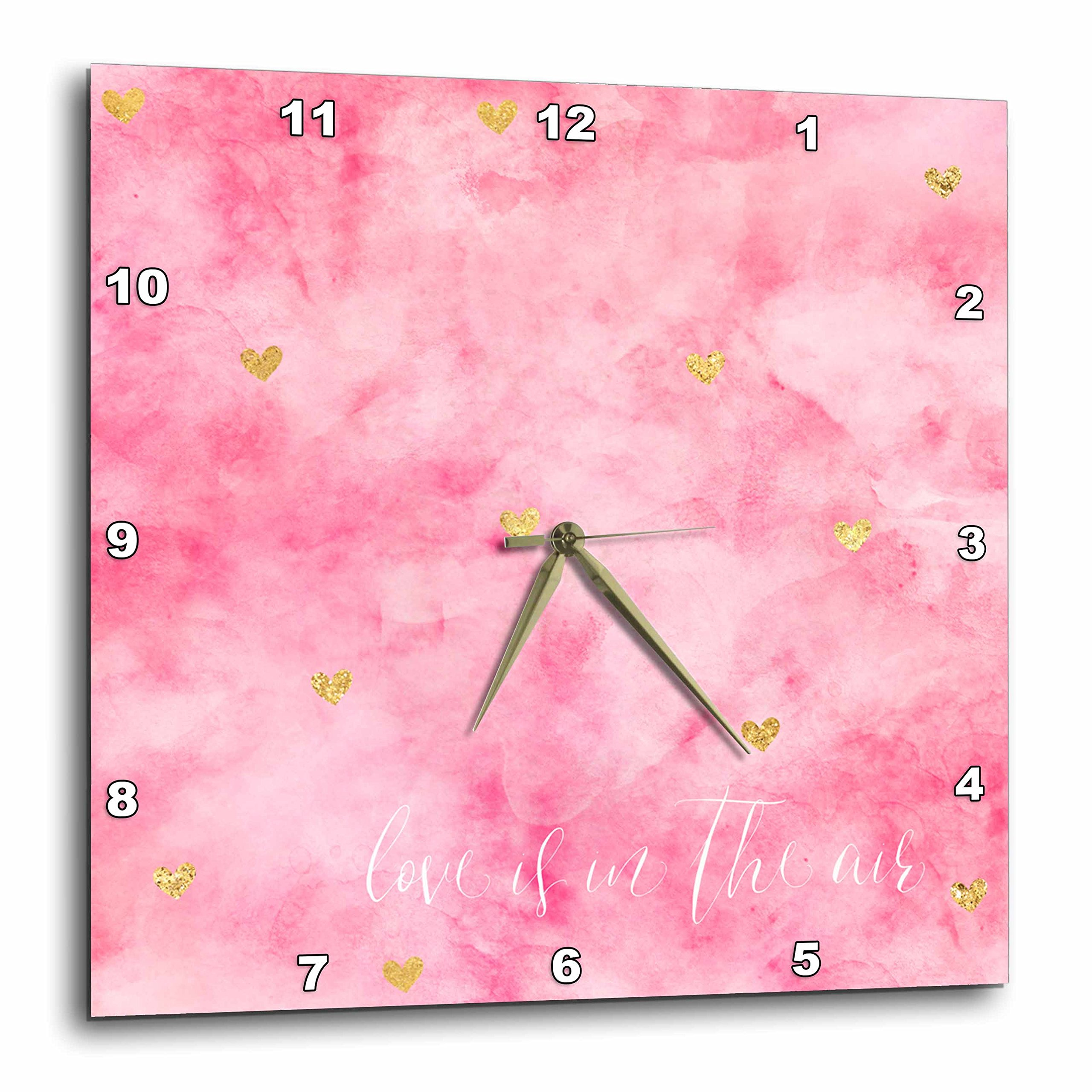 3dRose PS Inspiration - Gold Hearts Pink Watercolor Love is in the Air - 10x10 Wall Clock (dpp_280714_1)