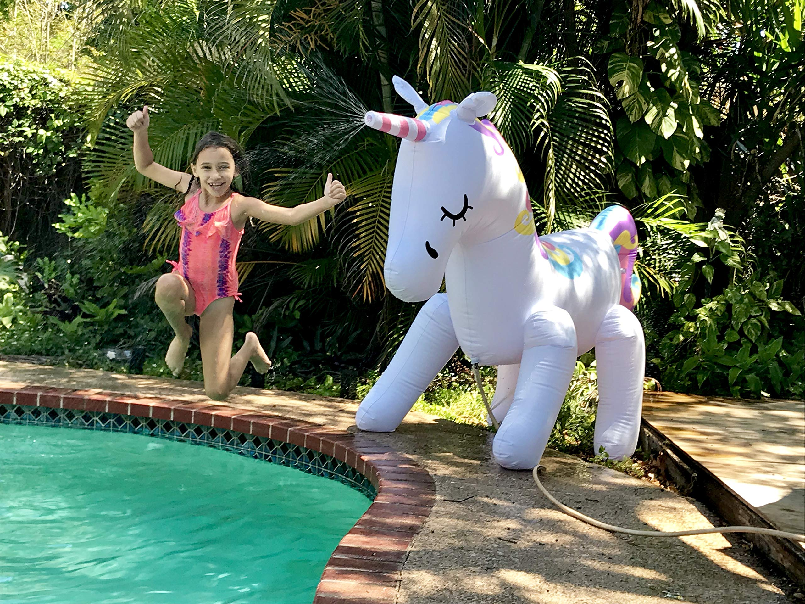 THE ORIGINAL UNICORN SPRINKLER Toy - Giant Inflatable Unicorn Sprinkler for Kids Adults - Great Outdoor Birthday Party… 5
