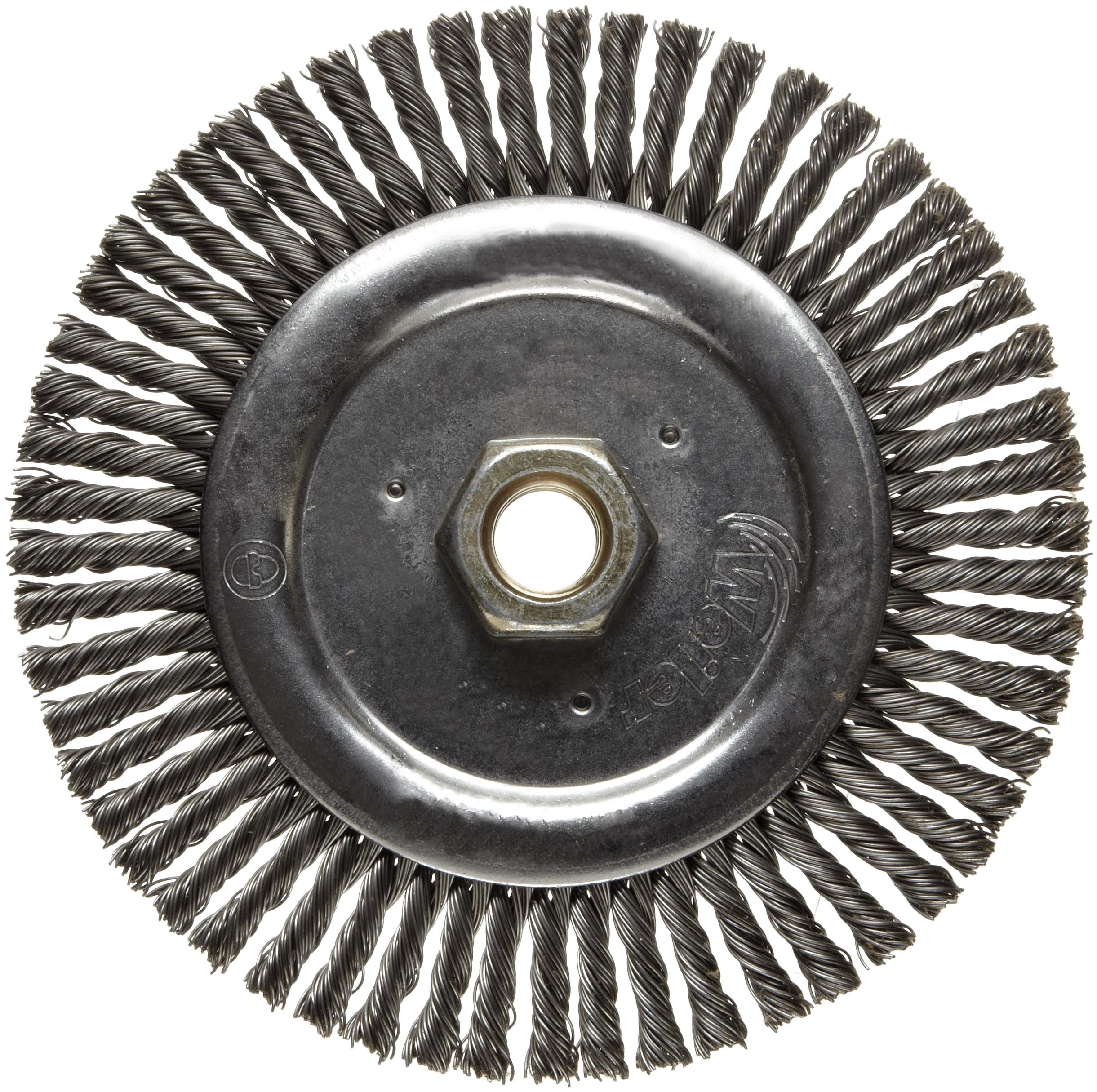 Weiler Dualife Narrow Face Wire Wheel Brush, Threaded Hole, Steel, Stringer Knotted, 6'' Diameter, 0.020'' Wire Diameter, 5/8-11'' Arbor, 1-1/8'' Bristle Length, 3/16'' Brush Face Width, 12500 rpm