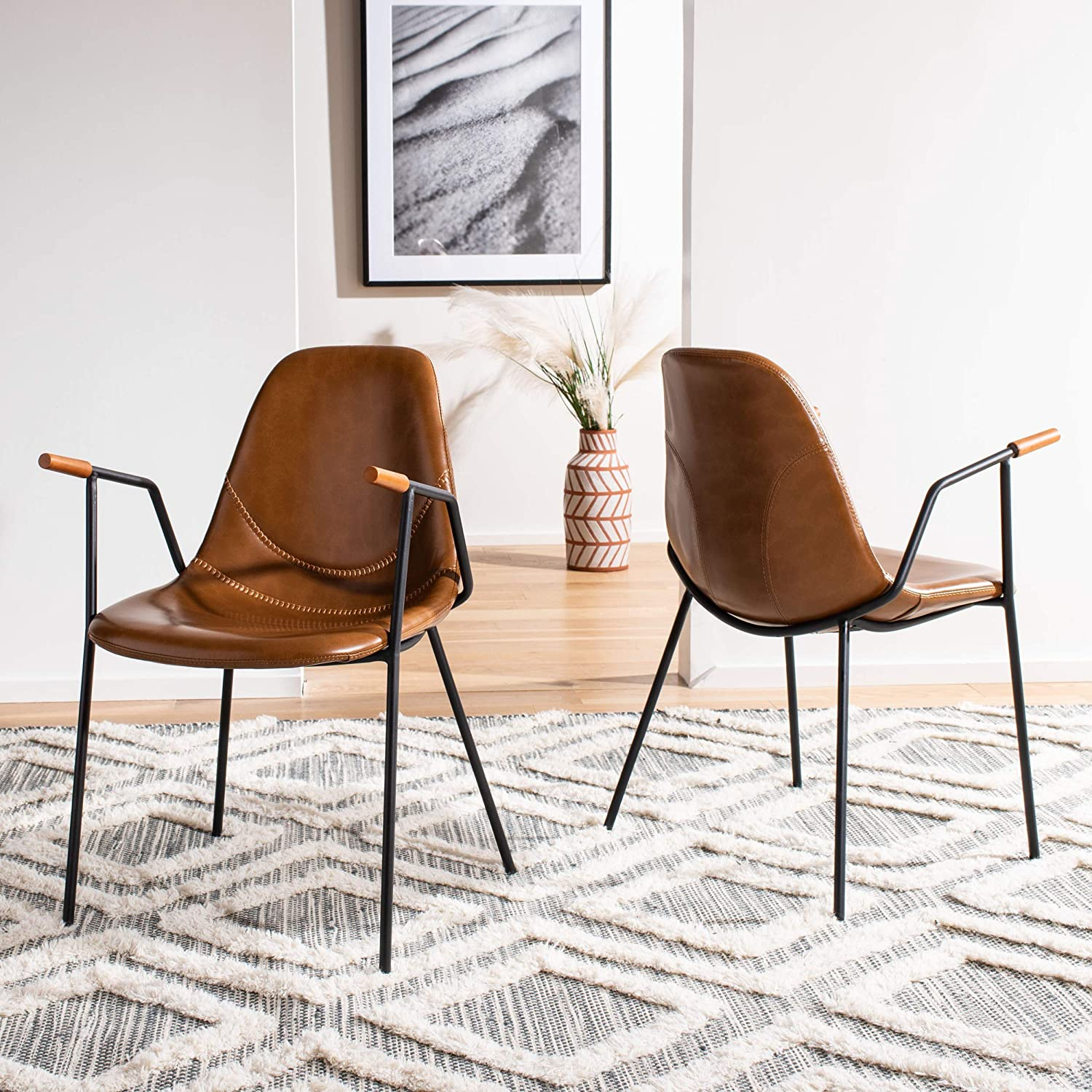 Safavieh Home Tanner Mid-Century Cognac Faux Leather and Black Dining Chair, Set of 2