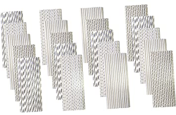 Bulk Pack Silver Paper Straws - Stripe Chevron Polka Dot - 7 75 Inches -  500 Pack - Outside the Box Papers Brand