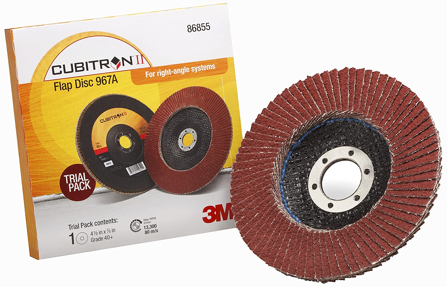 Trial Pack T27 4-1//2 in x 7//8 in 40 Y-weight 3M Cubitron II Flap Disc 967A