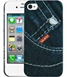 Heartly Jeans Style Printed Design High Quality Hard Bumper Back Case Cover For Apple iPhone 4 4S 4G - Small Button