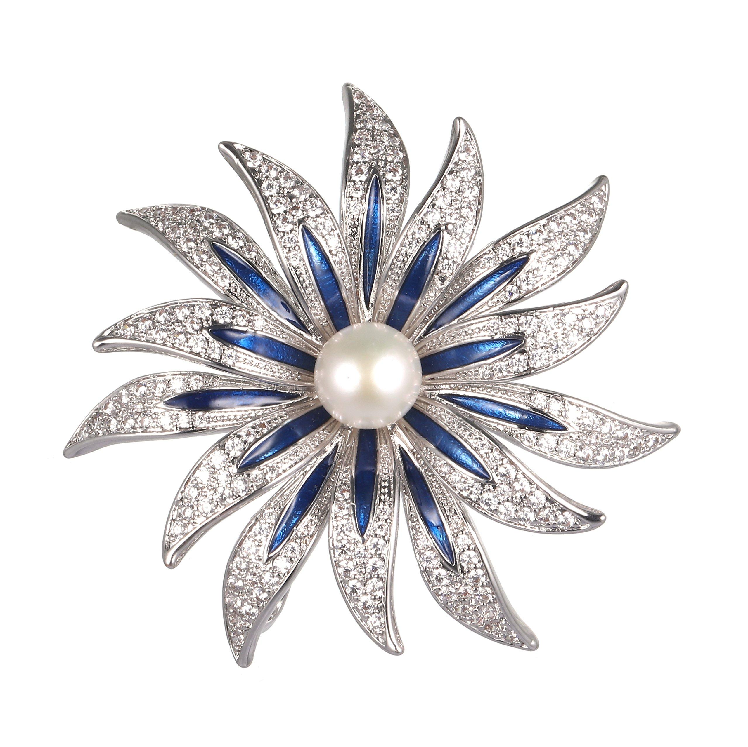 WenQian Jewelry Halloween Brooch,Christmas Brooch,AAAA 9mm More petal flowers Pearl Brooch