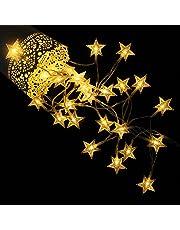 Star Fairy Lights, by myCozyLite, Warm White String Lights, Battery Powered, 40 LED Crystal Stars, 5m (Crystal Star)
