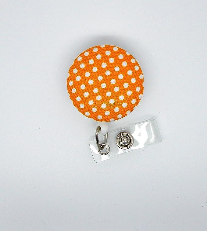 fabric handmade badge reel rose blush polka dot nurse badge teacher badge reel clip retractable badge reels