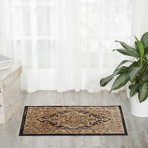 Nourison Delano DEL05 Traditional Oriental Persian Black Accent Area Rug, 2 x 3