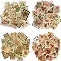 Cotrida 240pcs Vintage Postage Stamp Look Stickers, Aesthetic Botanical Deco Paper Sticker for Scrapbooking, Journaling…