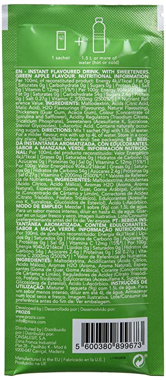 Prozis H2O Infusion 12x9g - Sobre de Bebida de Manzana Verde para la Hidratación Corporal - Repleto de Vitamina C - Deliciosa, Saludable y Segura ...