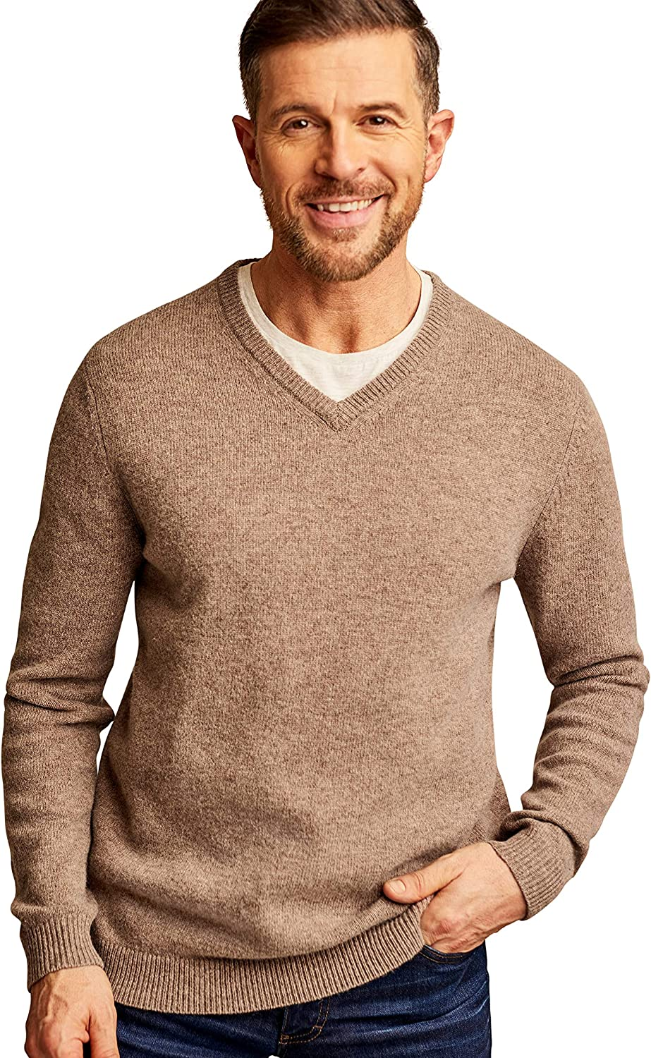 Woolovers Mens Lambswool V Neck Knitted Sweater Cozy Comfort M Dark Pepper