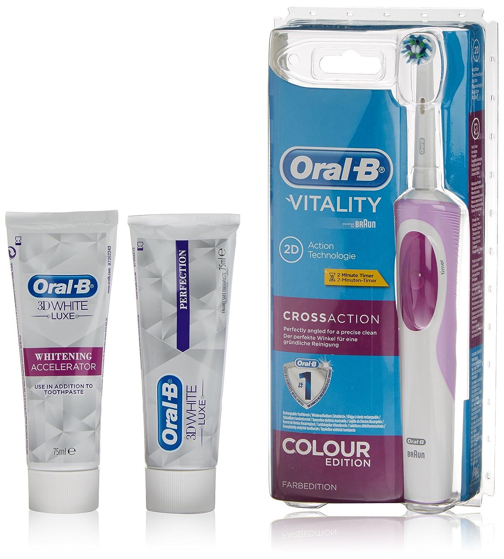 Oral-B Cepillo Eléctrico + Dentífrico 3D White + Dentífrico 3D White Luxe  Vitality Cross 1f2651ff3840