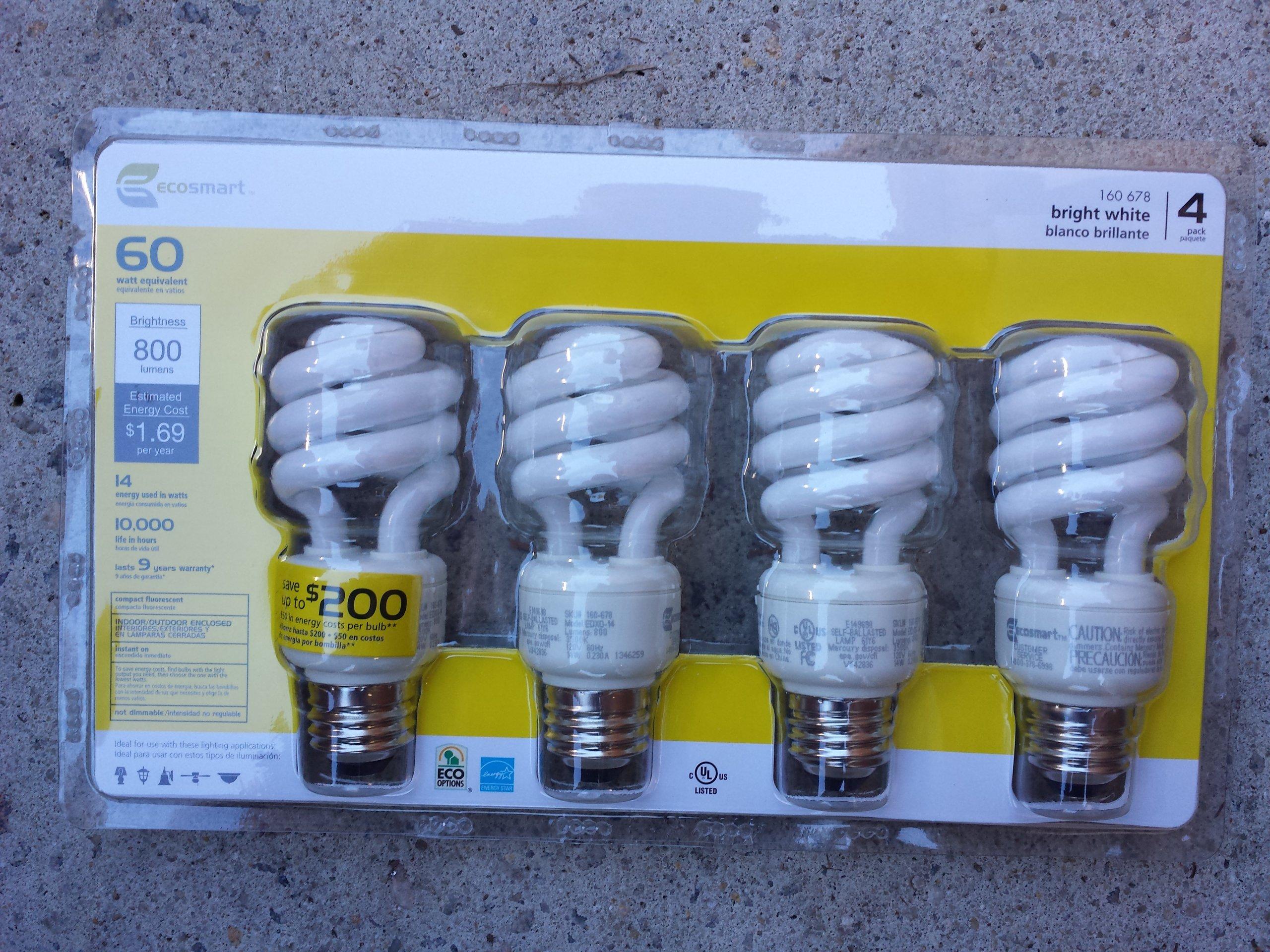 Ecosmart 60W Equivalent Spiral CFL Light Bulb, Bright White (4-Pack)