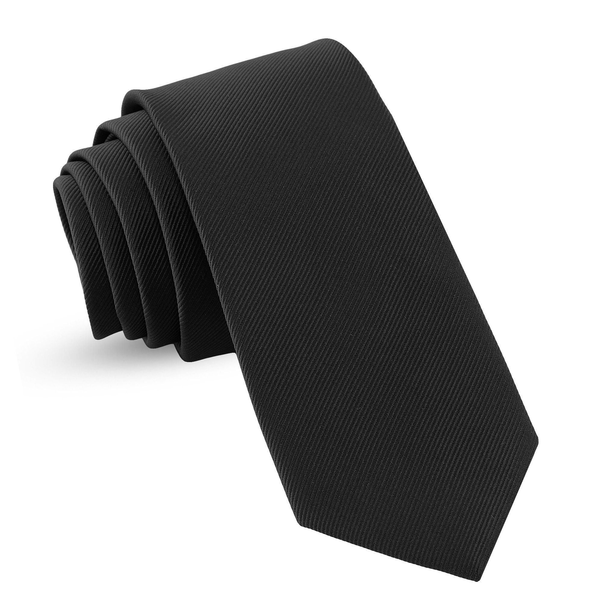 Handmade Black Ties For Men Skinny Woven Slim Tie Mens Men's : Thin Necktie, Solid Color Neckties 3''