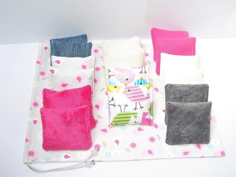 16 coussins sensoriels pour bébé et son sac - Méthode montessori - Développement de l'enfant