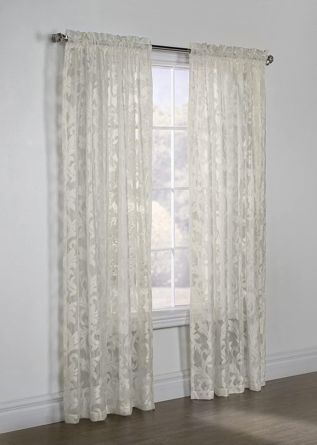 Common Wealth Home Fashions Jacqueline Habitat Tailored Lace Curtain Panel, 50 x 95, Eggshell