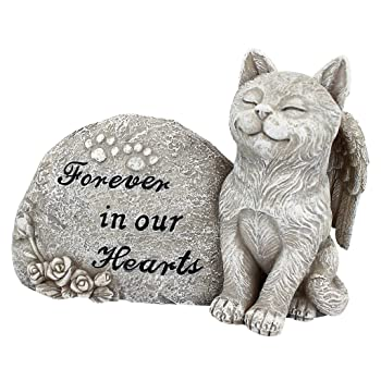 sitting cat angel statue - forever in our hearts