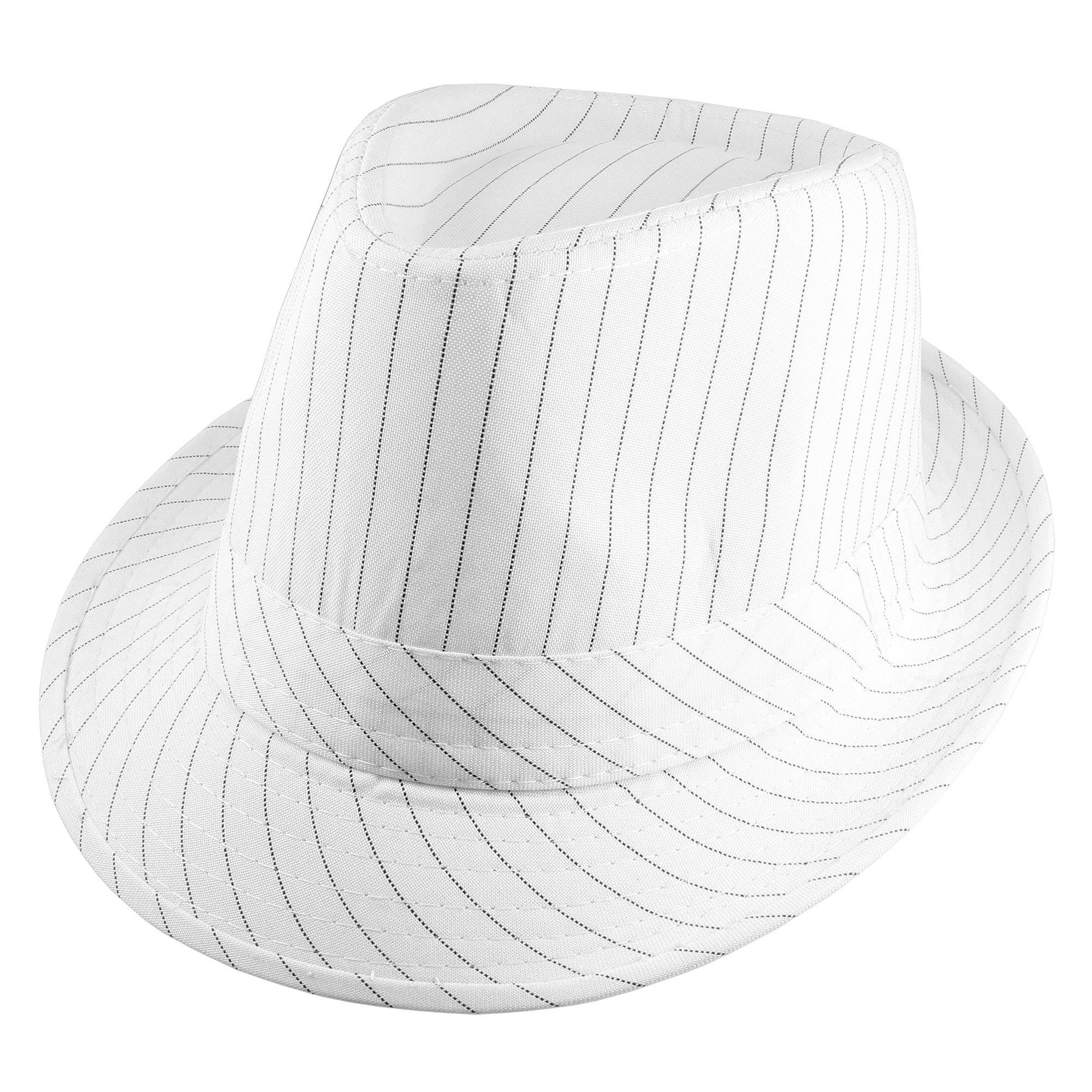 Gelante Classic Narrow Brim Gangster Trilby Cotton Blend Fabric Fedora Hat M217-White-L/XL