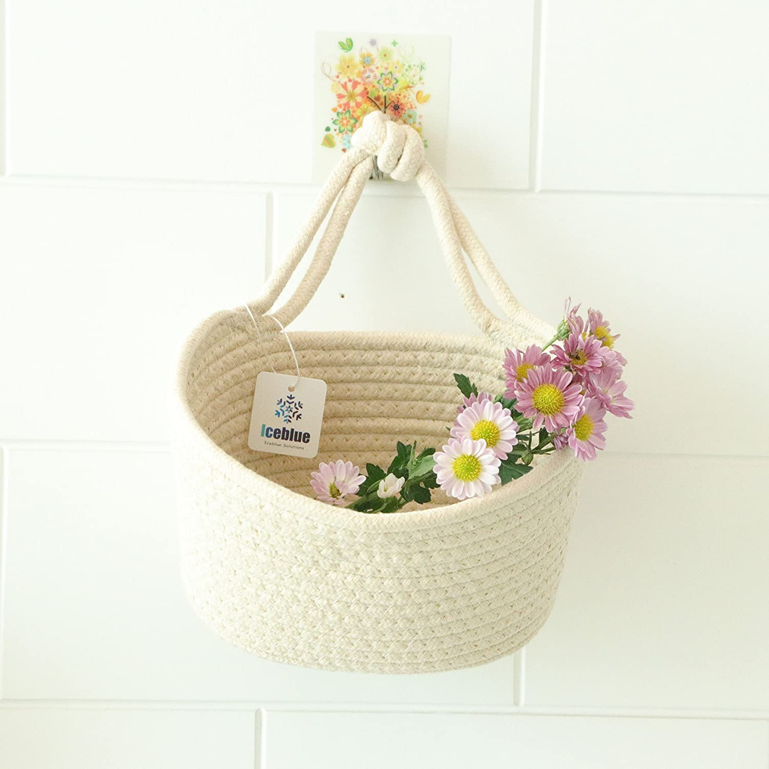 ICEBLUE 6''X4.5''Beige Round Cotton Rope Over Wall Door Closet Window Hanging Storage Basket The Best Time