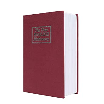 Caja de Seguridad Libro Estilo Diccionario Inglés Portátil Combinación de 3 Dígitos Código de Bloqueo Acero