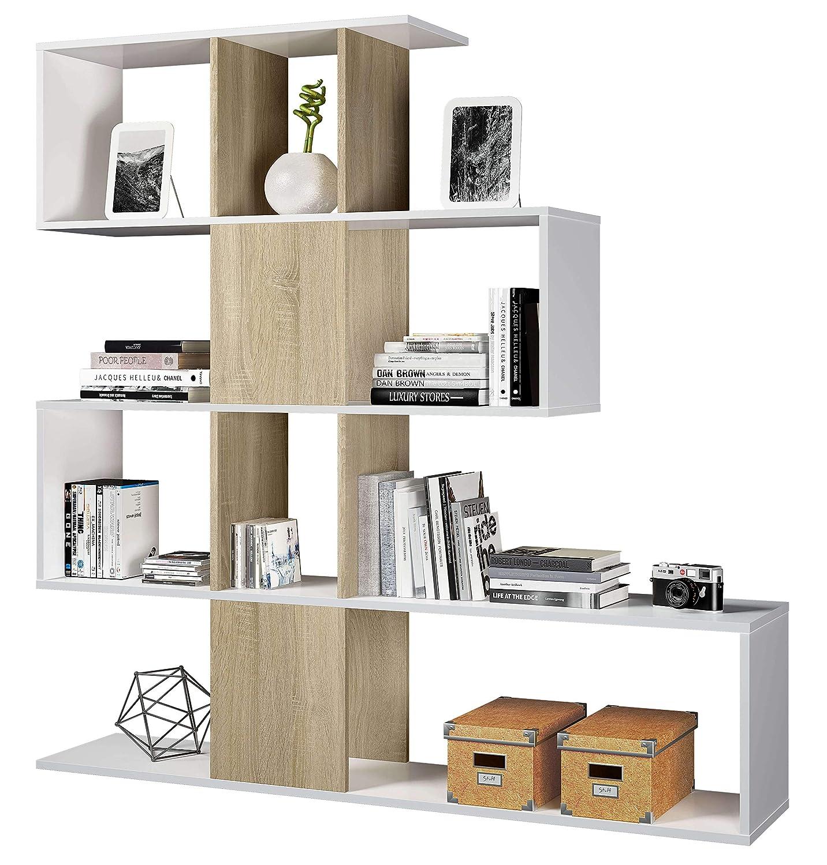 Miroytengo Estantería o librería moderna en forma de zig zag color roble canadian y blanco 145x145x30 cm para comedor, salon, oficina o despacho.