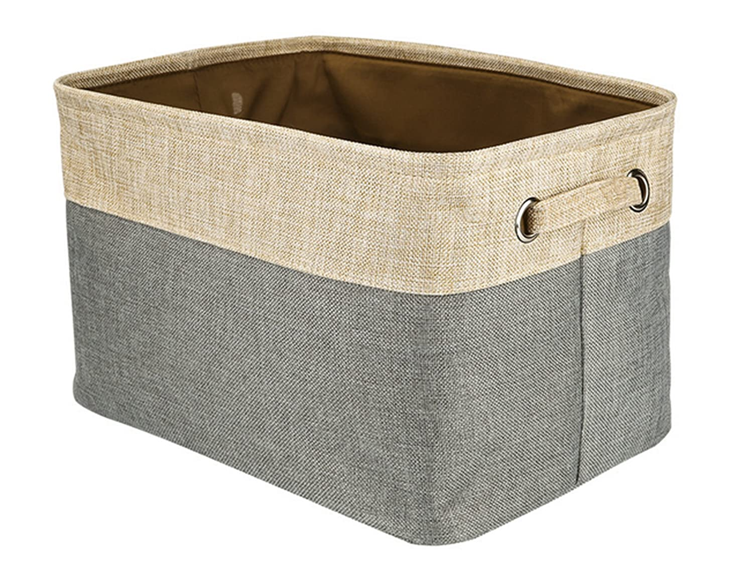 Square Natural Linen & Cotton Fabric Storage Bin Shelves Storage Basket with Handles-for organizing Baby Toys Bins,Kids Toys,Baby Clothing,Children Books, Gift Baskets(15×10×9