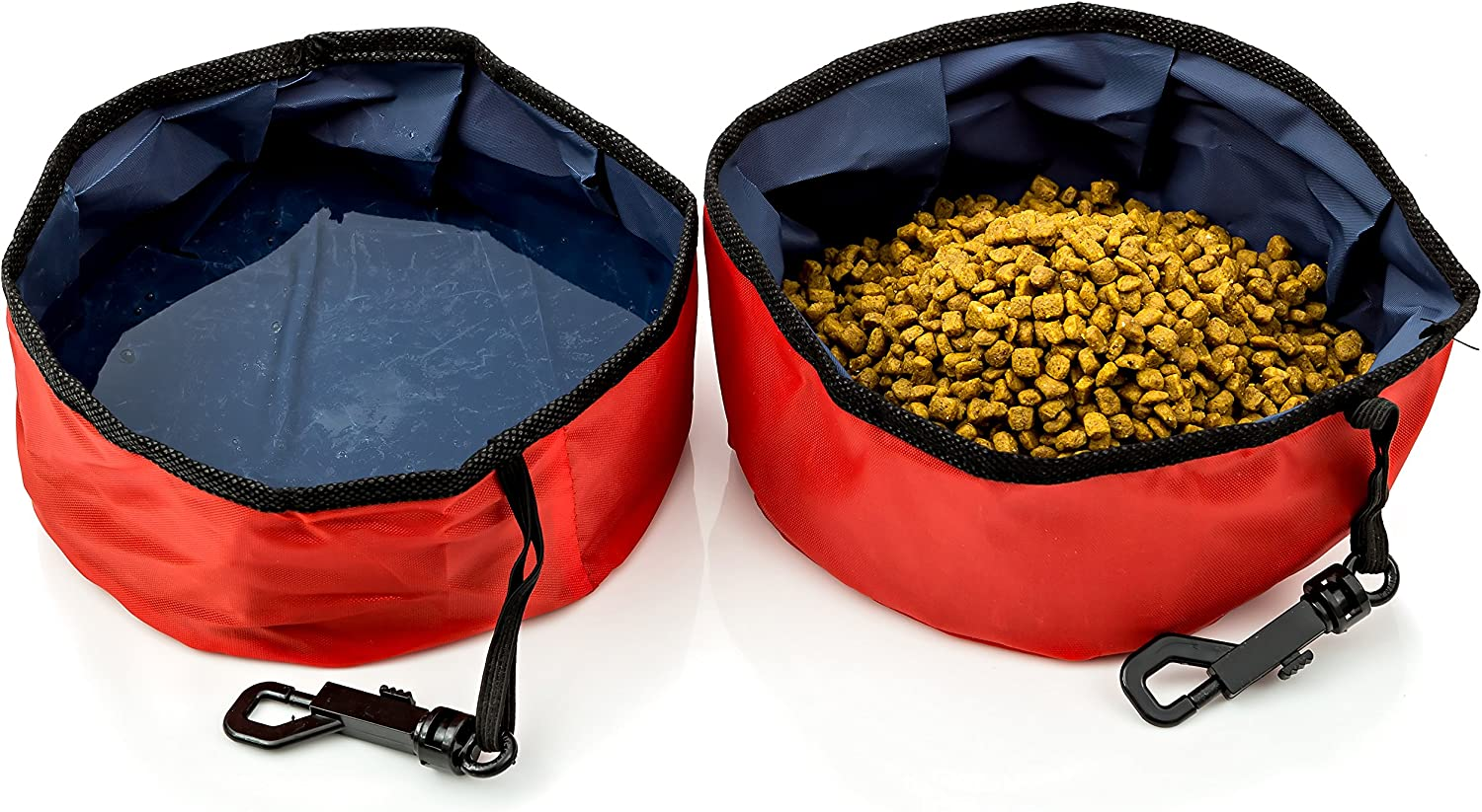 Travel Pet Bowl for Food and Water, Folding Collapsible, for Dogs and Cats-2 Pack