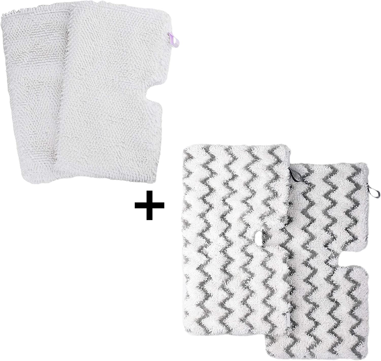 F Flammi 2 Pack + 2 Pack Replacement Microfiber Mop Pad for Shark Steam Pocket Mops S3500 Series S3501 S3601 S3550 S3901 S3801 SE450 S3801CO S3601D (2 Soft mop pad+2 scrubby mop pad)