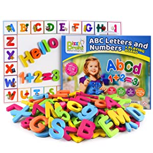 BizzyBrainz Magnetic Letters and Numbers + Dry Erase Magnetic Board + 35+ Learning & Spelling Games E-Book Included | ABC Fridge Magnets for Kids | Educational Foam ABC Toy Game