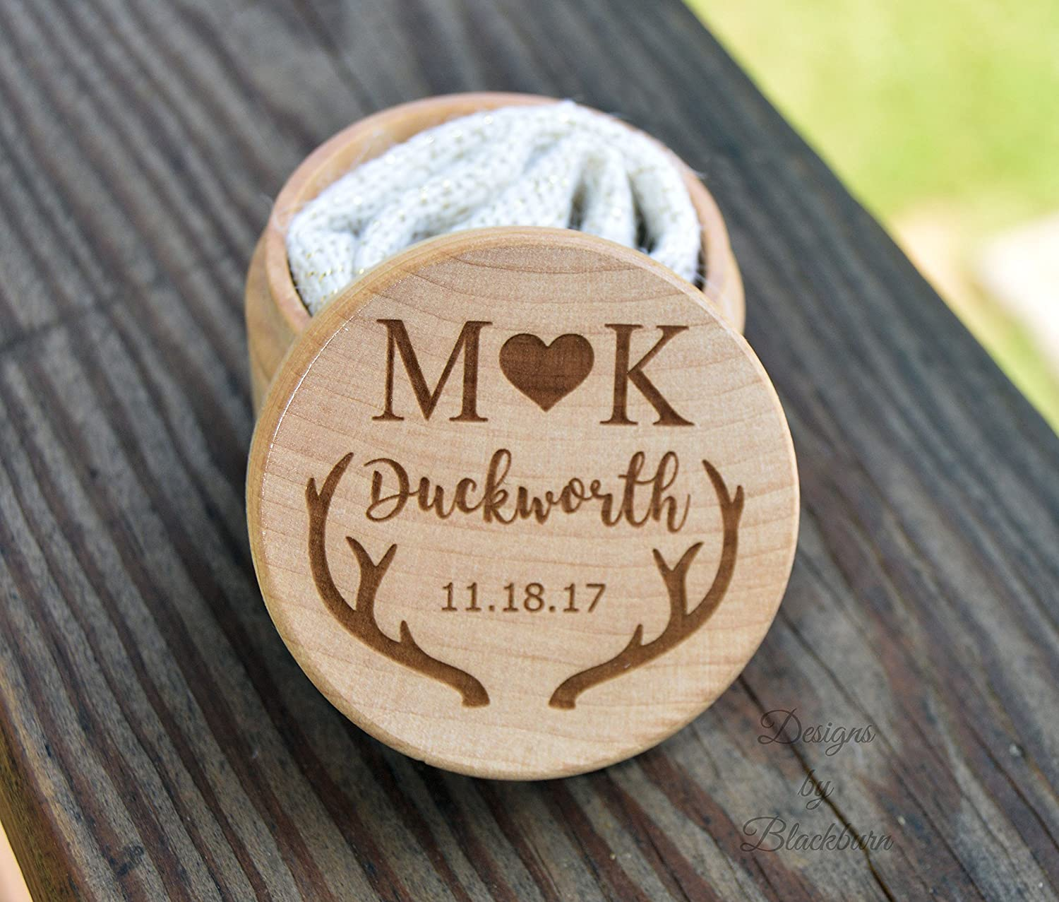 Ring Box with Deer Antlers for Wedding - Personalized