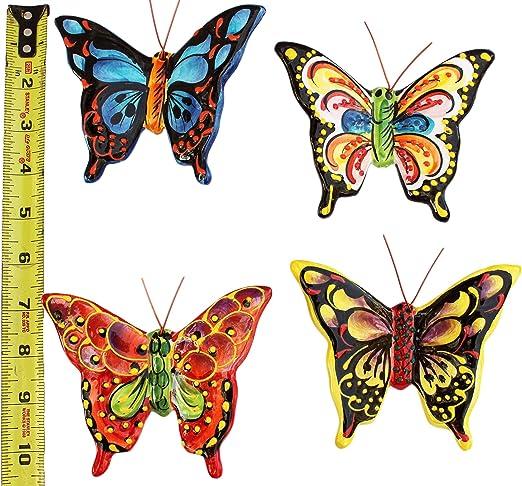 Tropische Schmetterlinge Set Mit 4 Kleinen Keramik Wandaufhängern Handbemalt Aus Spanien Amazon De