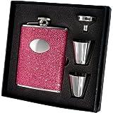 "Visol ""Carina"" Stainless Steel Deluxe Flask Gift Set, Glitter, 6-Ounce"