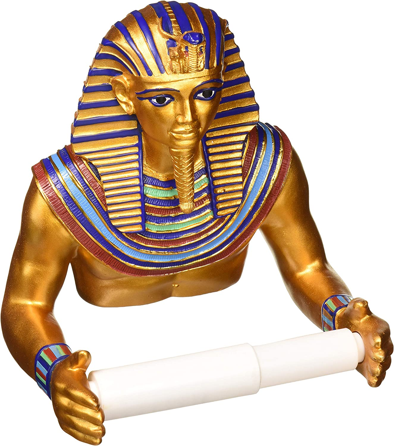Design Toscano JQ9686 Holder-King Tutankhamen Egyptian Toilet Paper Roll-Bathroom Wall Decor, Multicolor