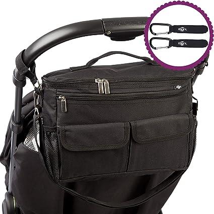 2 Pram Clips /& Mobile Phone Pocket.Brown BTR Buggy Organiser Pushchair Pram Bag