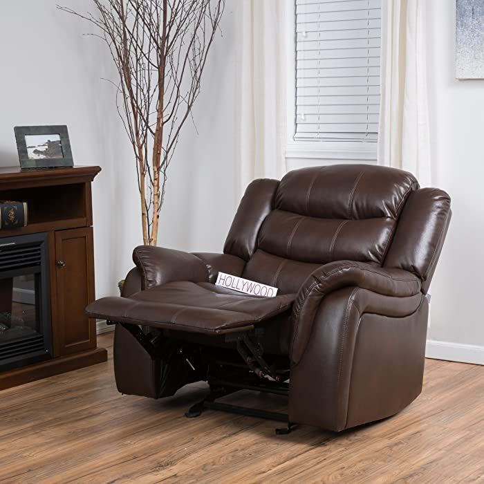 Christopher Knight Home Merit Brown Faux Leather Glider Recliner Club Chair