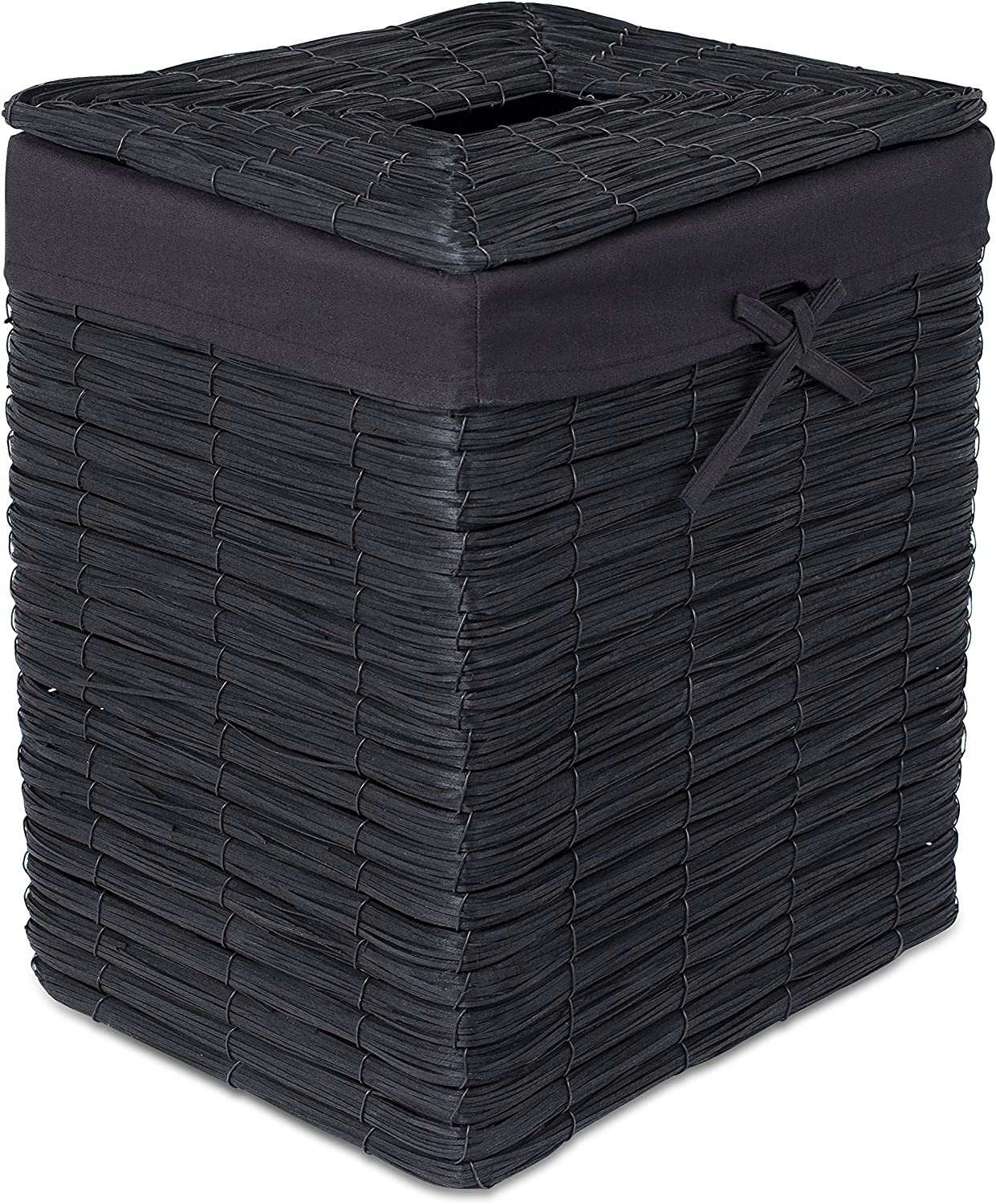 BIRDROCK HOME Rustic Woven Wood Peel Laundry Hamper with Lid - Thin Weave Laundry Basket - Removable Liner - Dirty Clothes Storage Bin - Black