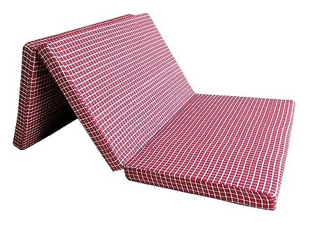 Loop Mattress 3 Fold Single Bed Size Mattress (72 X 35 X 2 Inch, Red & Black Checkered)