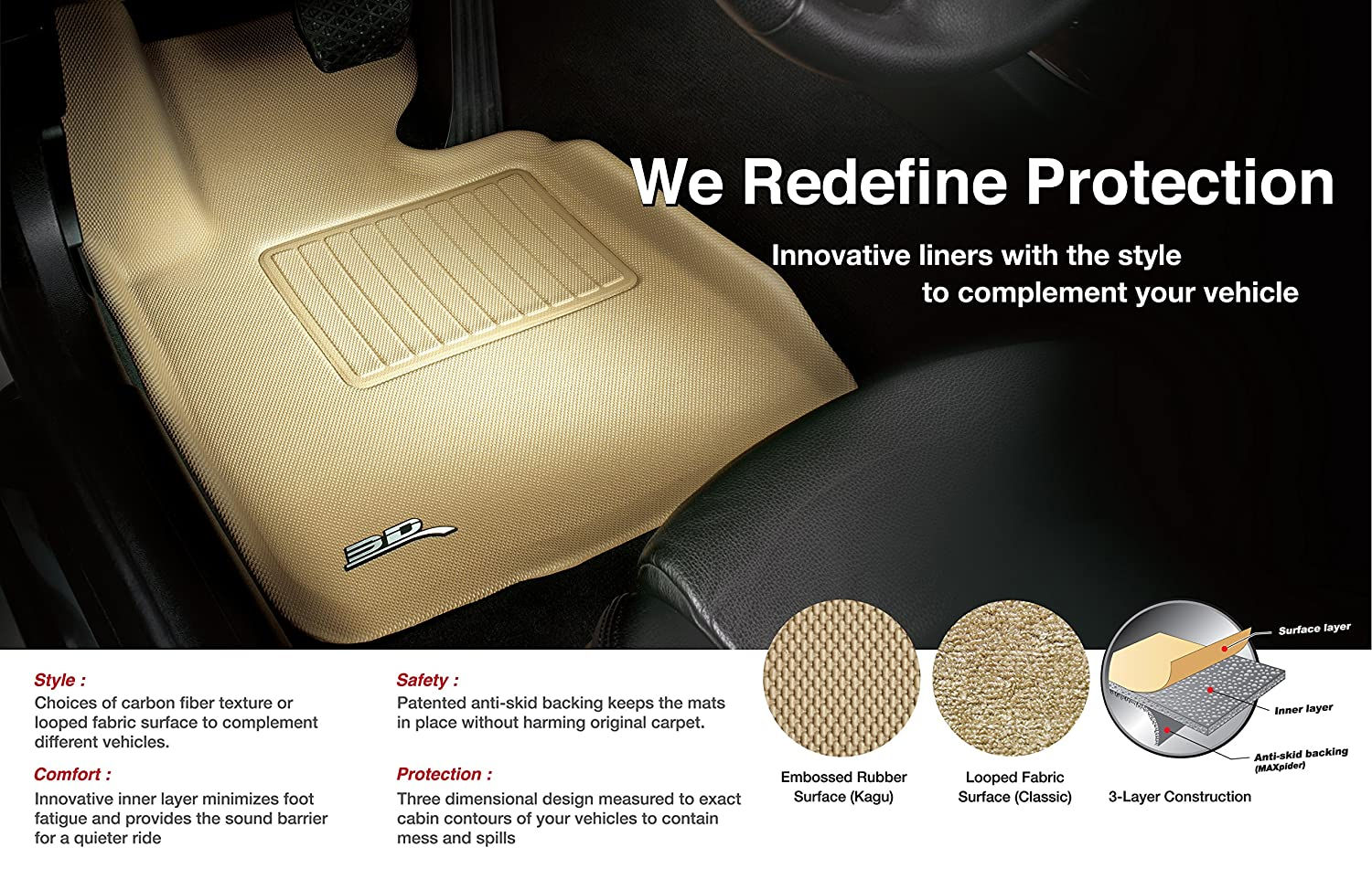 3D MAXpider Third Row Custom Fit All-Weather Floor Mat for Select Volvo XC90 Models Kagu Rubber L1VV02031502 Tan