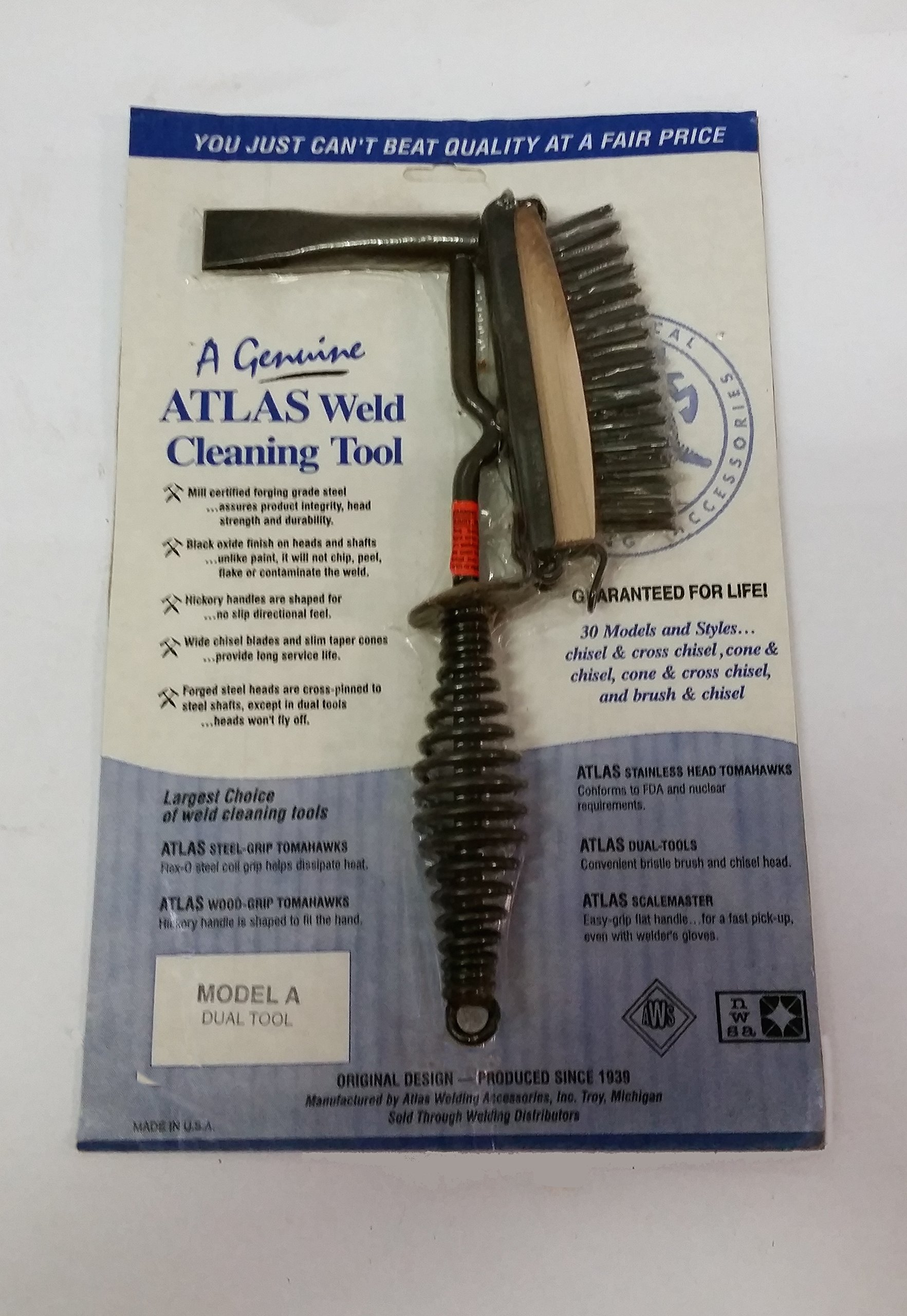 Atlas Brand (USA Made) Weld Cleaning and Chipping Hammer - Dual Tool Model A