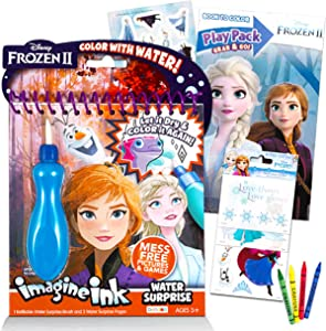 Disney Frozen Paint with Water Super Set for Girls Kids Bundle ~ Deluxe Mess-Free Book with Water Surprise Brush with Mini Coloring Book and Stickers (Disney Frozen Party Supplies)