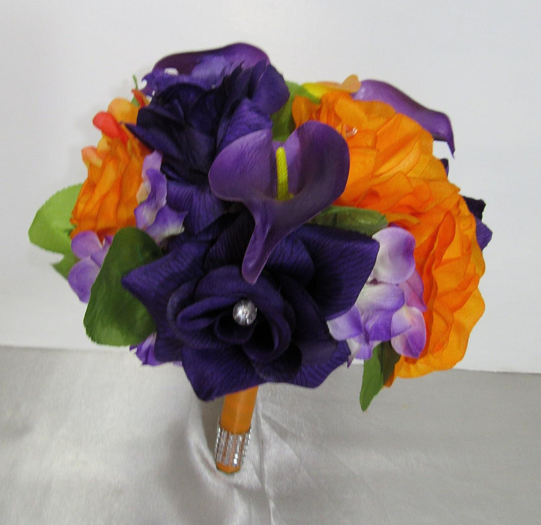 Amazon Com Orange Purple Rhinestone Rose Calla Lily Bridal