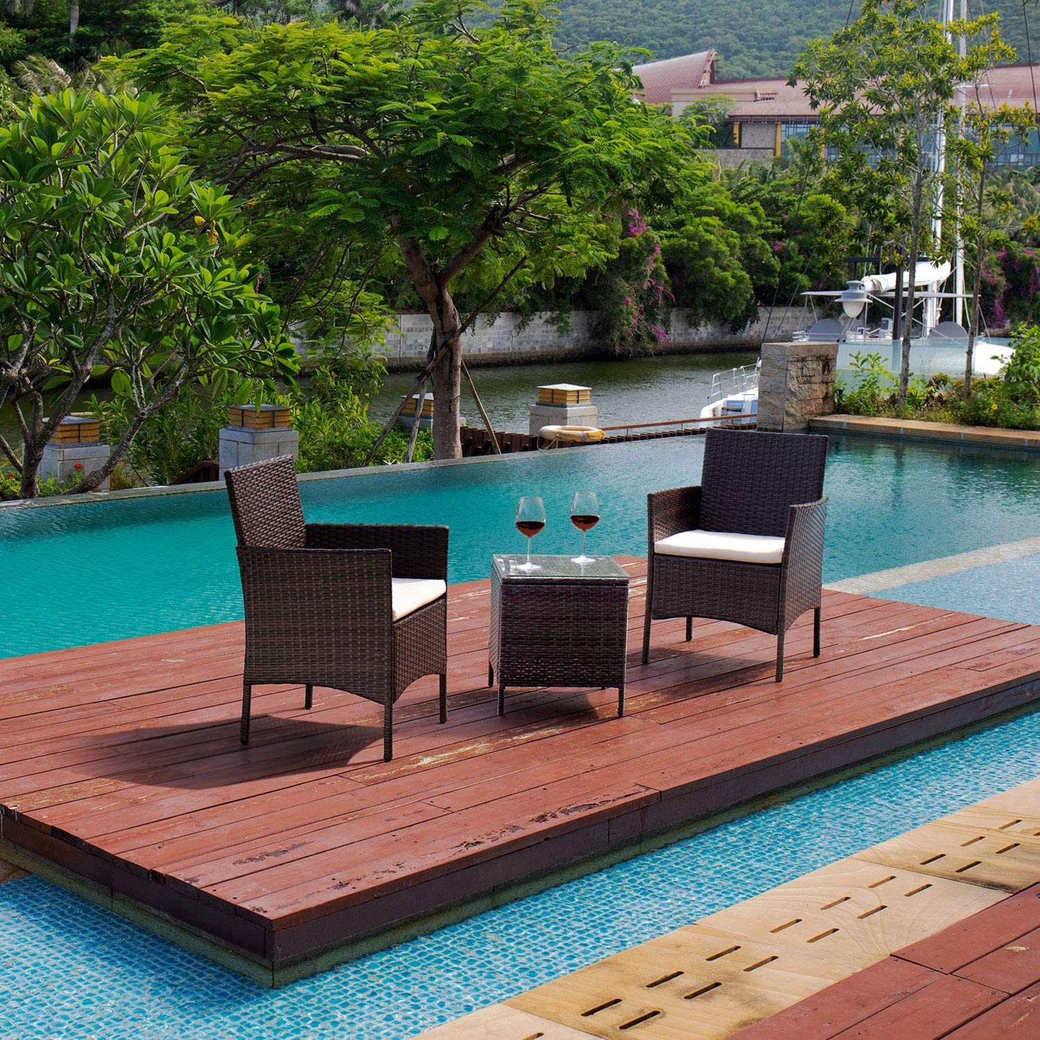 Devoko Patio Porch Furniture Sets 3 Pieces PE Rattan Wicker Chairs with Table Outdoor Garden Furniture Sets (Brown/Beige): Garden & Outdoor