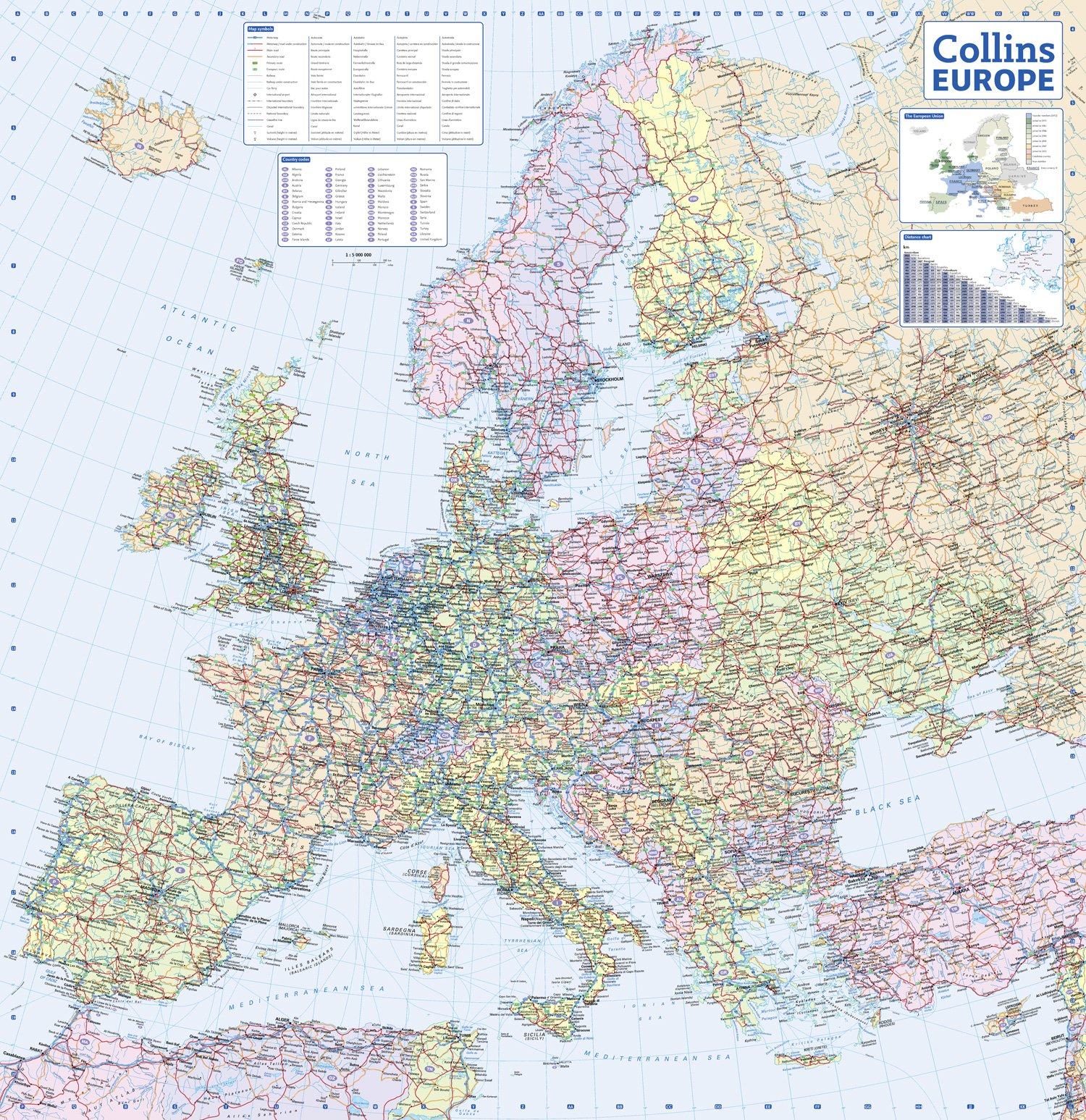 Collins Europe Road Map Collins UK Amazon - Maps of europe