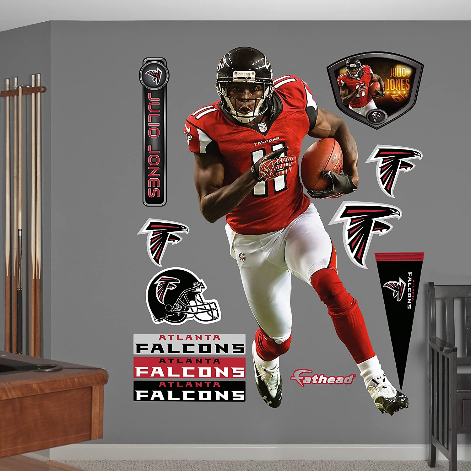 19a5a9bd Amazon.com : Fathead NFL Atlanta Falcons Julio Jones: Home - Life-Size  Officially Licensed NFL Removable Wall Decal : Sports Fan Wall Decor  Stickers ...